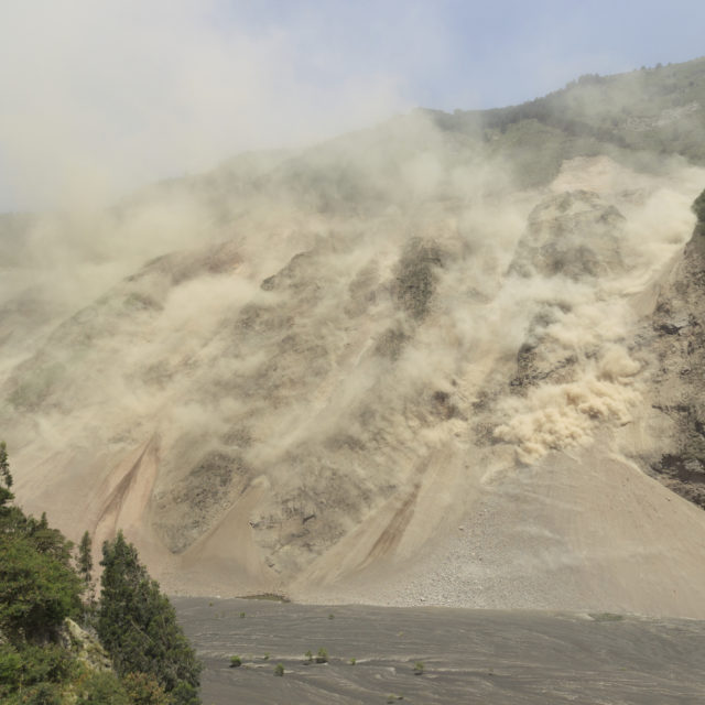 Natural disaster, landslide in Ecuadorian Andes, earthquake effects in Tungurahua province